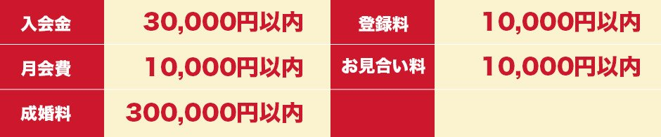 日本仲人協会のサービス料金の上限